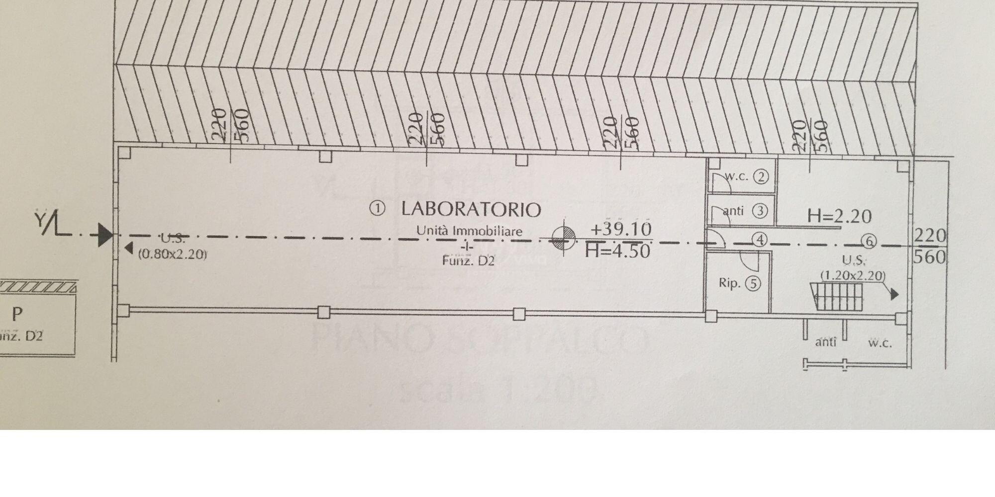 Ciarulla: Capannone industriale  in affitto di 238 mq. abitabilità laboratorio 'D2'